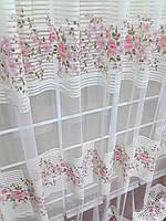 Тюль Линия Розы, розовая (сетка печать)