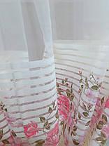 Тюль Линия Розы, розовая (сетка печать), фото 2