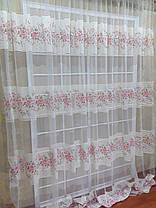 Тюль Линия Розы, розовая (сетка печать), фото 3