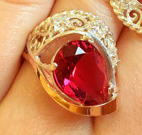 Кольцо серебряное с золотыми накладками Адана с цирконами и рубином