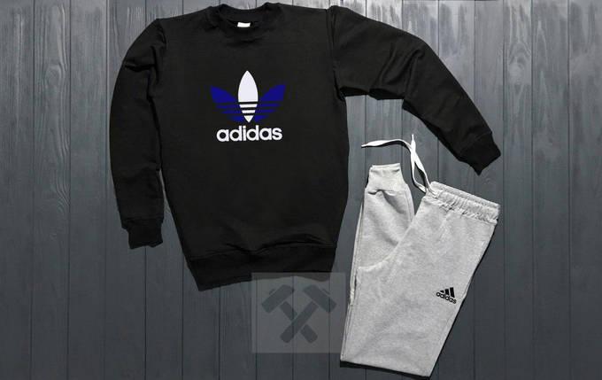 Костюм спортивный Adidas  черно - серый, фото 2