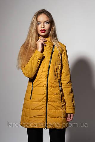 Женская удлиненная демисезонная куртка. Код модели К-89-37-17. Цвет горчица.