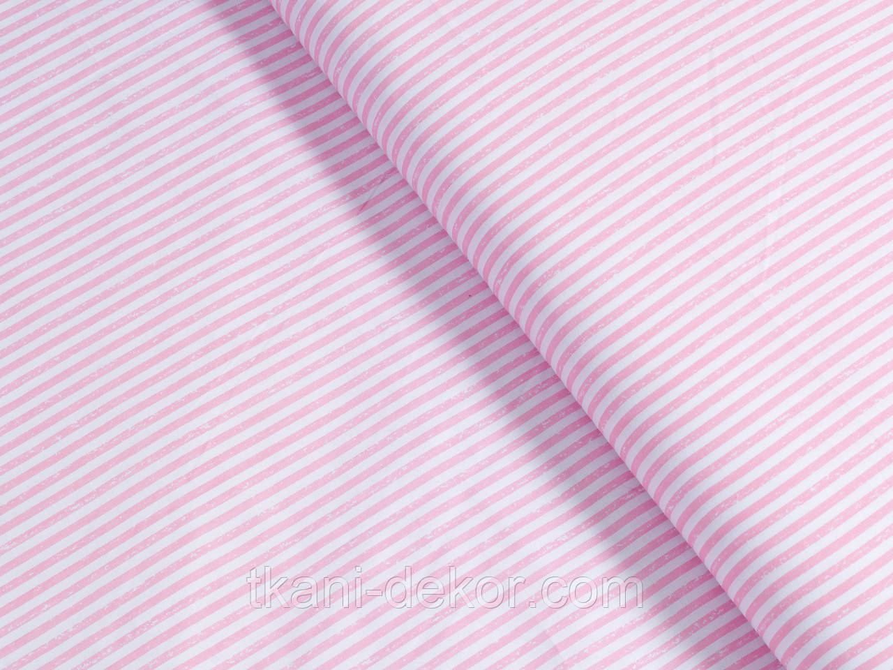 Сатин (хлопковая ткань) размытая розовая полоска