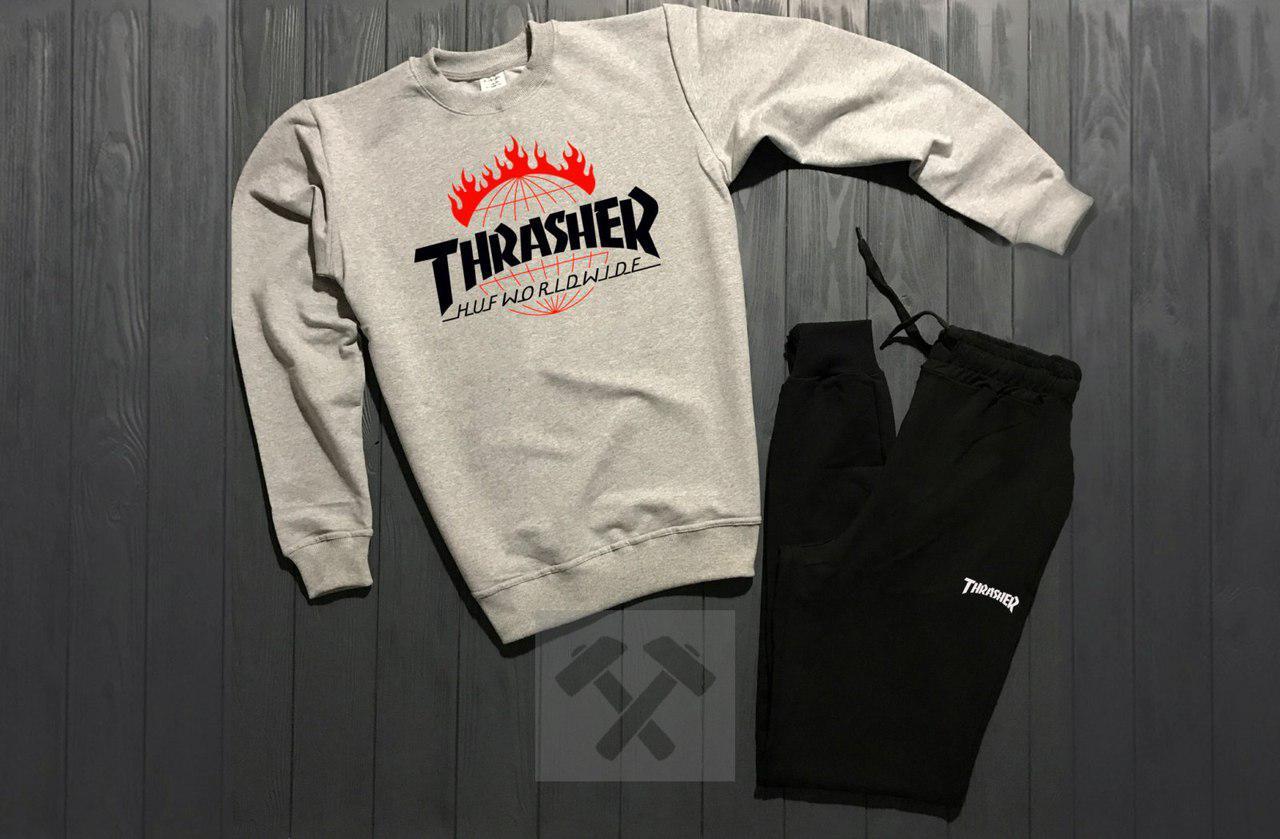 Костюм спортивный Trasher серо - черный топ реплика