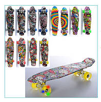 Скейт Пенни борд Penny Board MS 0748-5 абстракция, колеса светятся