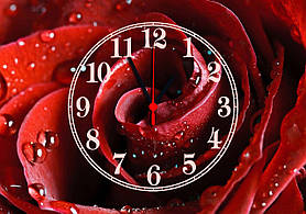 Часы настенные стеклянные Т-Ок 009 Большая красная роза SG-35050011