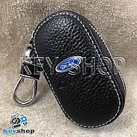 Ключница карманная (кожаная, коричневая, на молнии, с карабином, с кольцом), логотип авто Ford (Форд)