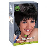 Натуральная краска для волос на основе хны Color Mate (тон 9.1, натуральный чёрный) — без аммиака!