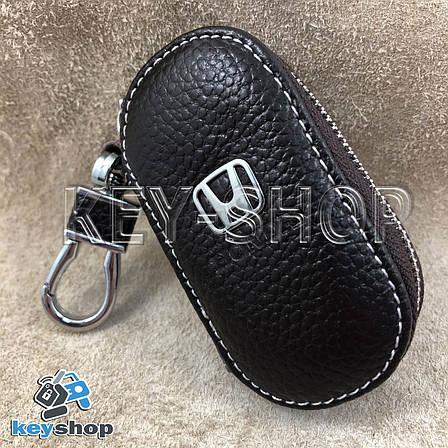 Ключница карманная (кожаная, коричневая, на молнии, с карабином, с кольцом), логотип авто Honda (Хонда) , фото 2