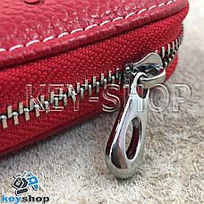 Ключница карманная (кожаная, красная, на молнии, с карабином, с кольцом), логотип авто Honda (Хонда) , фото 2