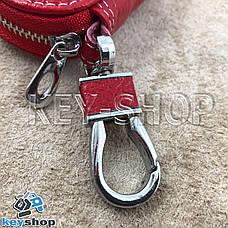 Ключница карманная (кожаная, красная, на молнии, с карабином, с кольцом), логотип авто Honda (Хонда) , фото 3