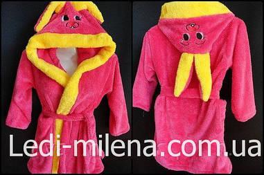 Красивый махровый халат для девочки Зайка