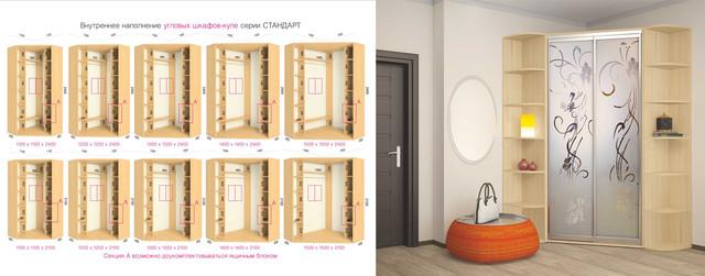 Шкафы-купе угловые серии Стандарт размеры дизайн