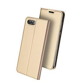 Чехол книжка для Huawei nova 2s боковой с отсеком для визиток, DUX DUCIS, золотистый