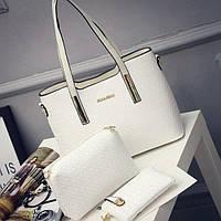Женская сумка набор 3в1 + маленькая сумочка и клатч белый