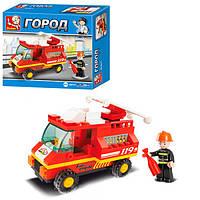 Конструктор SLUBAN M38-B0173 (90шт) пожарная машина, фигурка, 74дет, в кор-ке, 16,5-14-4,5см