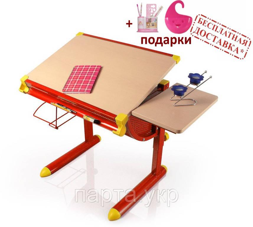 Детский стол, парта  Evo-kids BD-1122, Mealux, столеница клен / ножки красные