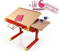 Детский стол, парта  Evo-kids BD-1122, столеница клен / ножки красные