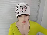 РАСПРОДАЖА шапка женская трикотажная светло-серая на флисе с камнями хорошего качества по низкой цене