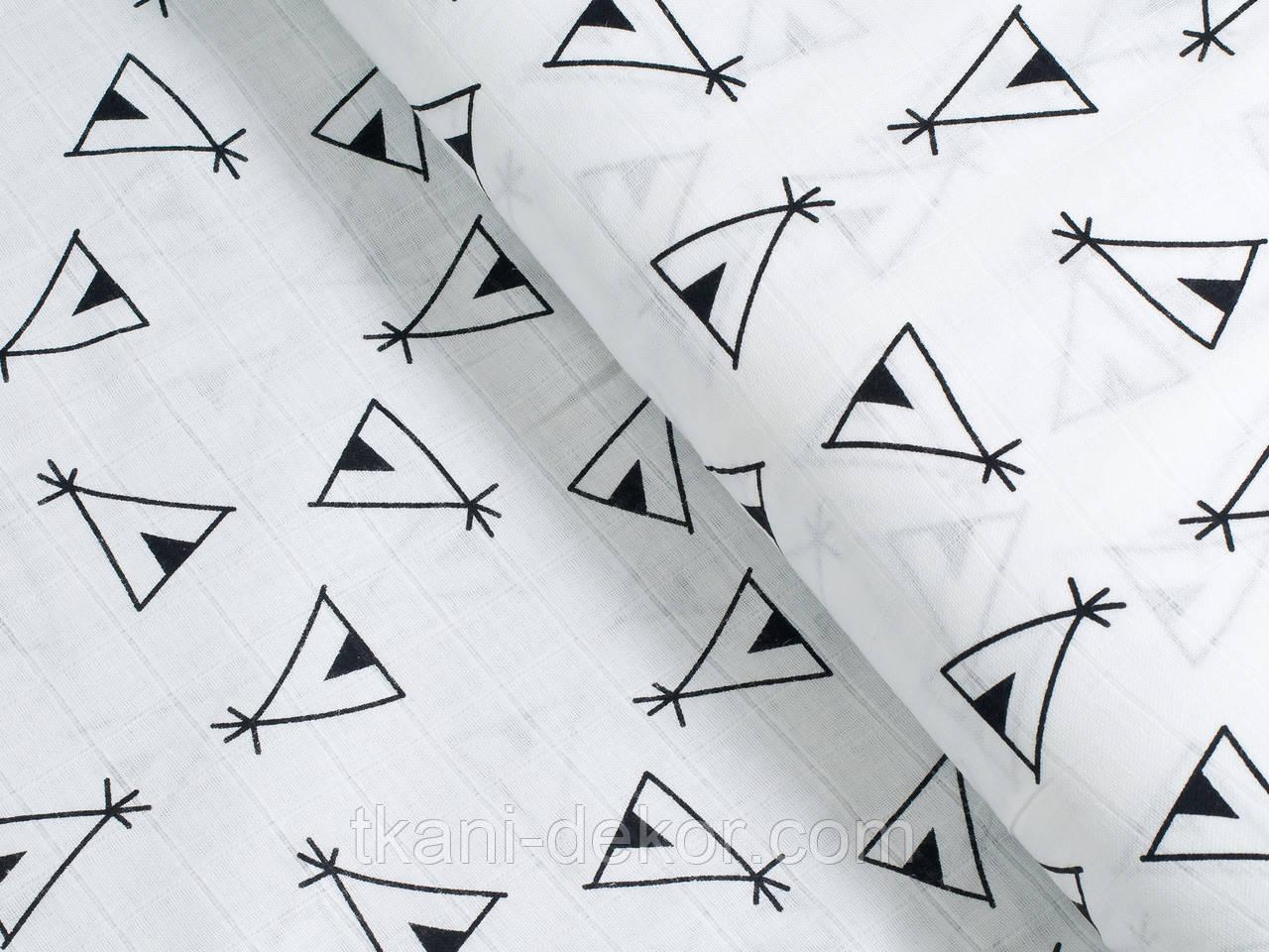 Муслин хлопковая ткань) черные вигвамы (ширина 120)