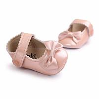 Детские нарядные лаковые пинетки туфельки для крестин девочки Пудровый