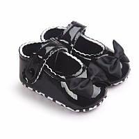 Детские нарядные лаковые пинетки туфельки для крестин девочки Черный
