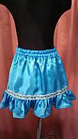 Украинская юбка голубая для девочки 110-128. Оригинальный подарок к 8 марта