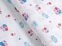 Муслин хлопковая ткань) Свинка Пеппа (ширина 155 см)