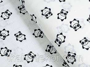 Муслин (хлопковая ткань) черные панды(ширина 1,2 м)