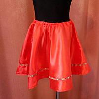 Украинская юбка красная  на резинке 110-128 размер
