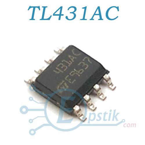 TL431AC, Регулируемый источник опорного напряжения, 2.495В до 36В, SOP8