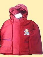 Курточка детская красная с капюшоном, микровельвет, 12, 24