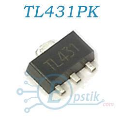TL431PK (TL431), Источник опорного напряжения регулируемый, 2.495В до 36В, SOT89