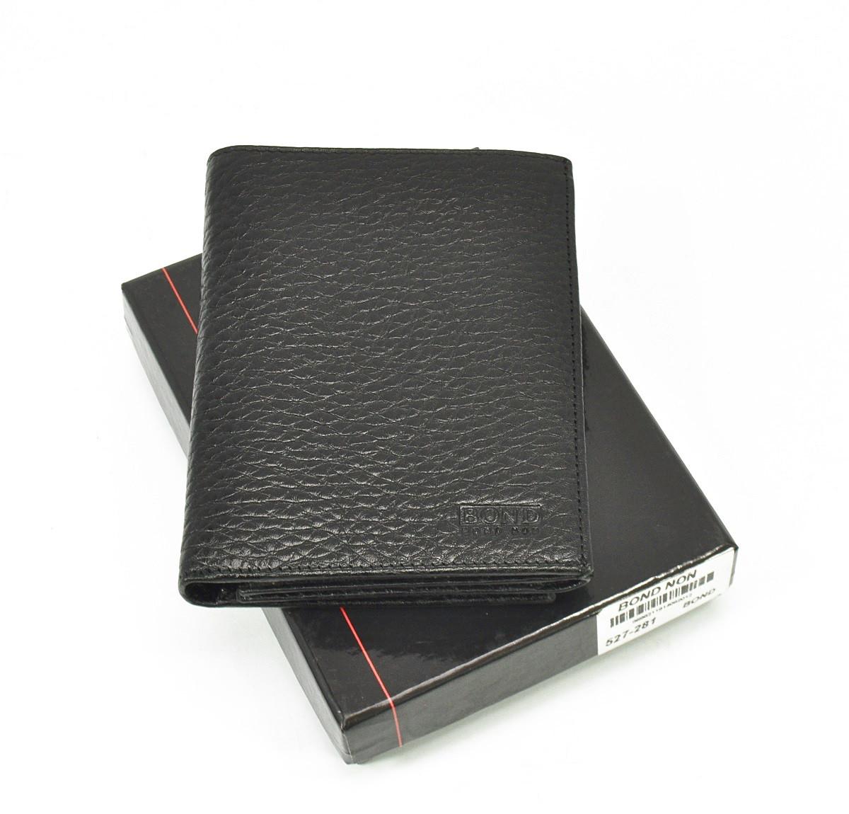 Кошелек мужской кожаный, карты, монеты черный Bond Non 527-281 Турция