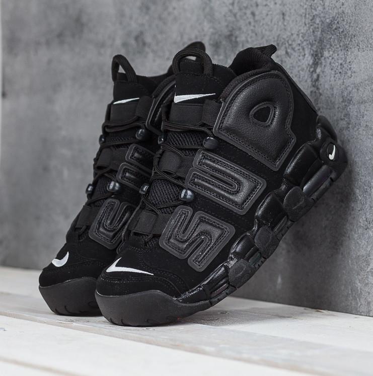 "c7f97969a7d7 Кроссовки в стиле Supreme x Nike Air More Uptempo ""Suptempo"" Black мужские"