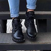 Ботинки женские кожаные с шипами на подошве