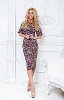 Приталенное платье с цветочным принтом, рукав фонарик / 3 цвета арт 3778-159