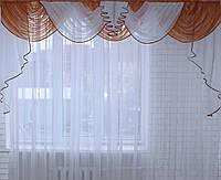 Ламбрекен на карниз 3м. №84 Светло-коричневый с белым(У)