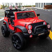 Детский двухместный электромобиль Джип Jeep M 3469 EBLR-3 красный, мягкие колеса и кожаное сиденье