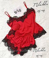 Шелк Армани! Шелковая женская пижама шорты маечка с кружевом красная