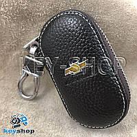 Ключница карманная (кожаная, коричневая, на молнии, с карабином, с кольцом), логотип авто Chevrolet (Шевроле)