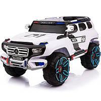 Детский электромобиль джип Mерседес POLICE M 3585 EBLR-1 белый, мягкие колеса и кожаное сиденье