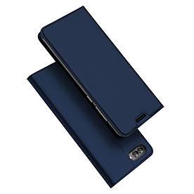 Чехол книжка для Huawei nova 2s боковой с отсеком для визиток, DUX DUCIS, темно-синий
