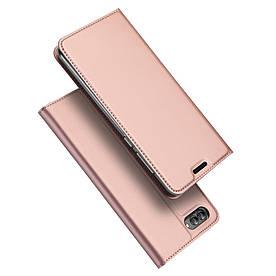 Чехол книжка для Huawei nova 2s боковой с отсеком для визиток, DUX DUCIS, золотисто-розовый