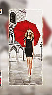 """Схема для вышивки бисером на подрамнике (холст) """"Девушка с красным зонтом"""""""