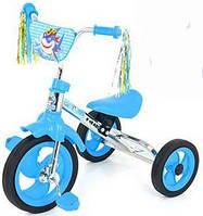 Детский трёхколёсный велосипед M 1658 голубой, мягкое сиденье