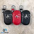 Ключница карманная (кожаная, черная, на молнии, с карабином), логотип авто Mitsubishi (Митсубиси) , фото 2