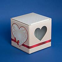 Подарункова упаковка для чашки Серце (рожеве), фото 1
