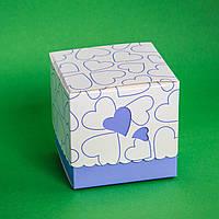 Подарочная упаковка для чашки с голубыми сердечками