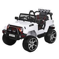 Детский электромобиль Джип Jeep M 3470 EBLR-1 белый, мягкие колеса и кожаное сиденье